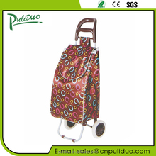 Bend Handle Satin Fabric Folding Shopping Trolley Bag With 2 Wheels