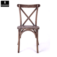 Oak Wood Cross Back Chair Antique Color X Back Chair for wedding