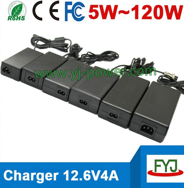 CE Rohs approved 12.6v 4a charger for lithium ion battery, 18650 lithium ion batteries charger EU/US/AU/UK plug