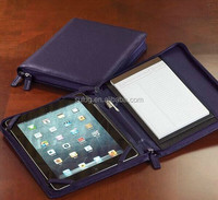 Luxury zippered leather portfolio for ipad mini 3 case,for ipad mini 3 leather case