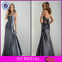 A Line Absorbing Halter Beading Side Pleated Grey Color Haute Couture Evening Dress Formal