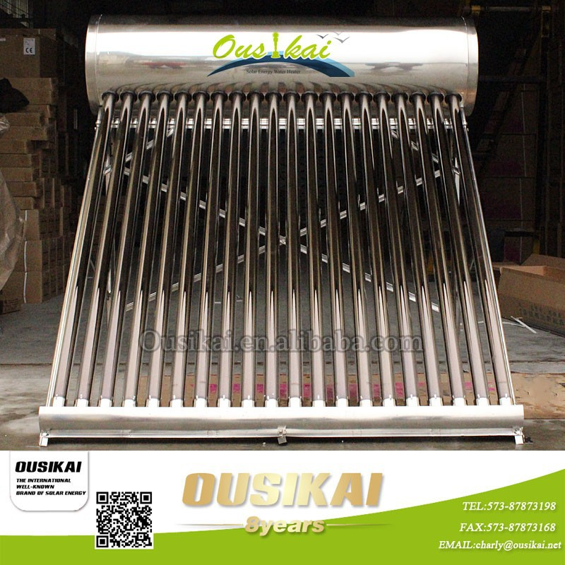 2015 Ousikai non-pressurized vacuum tube solar water heater for home/solar water geyser