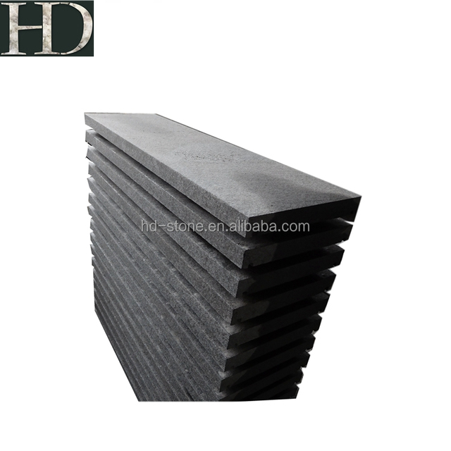 Chinese G684 Black Granite/Basalt Flamed Surface Stair, Tread Tiles