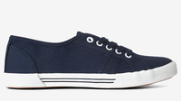 Dark blue formal canvas shoes for women