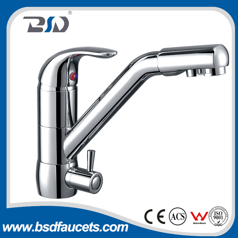 Single lever chrome plated two aerator chinese Brass 3 ways filter water pure water kitchenfaucets made in china