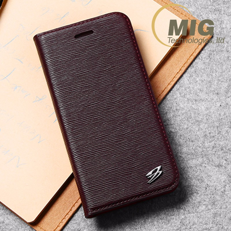 Customized Mobile Phone side Flip Cover Genuine Real Leather Case For Apple iPhone 7&7 Plus
