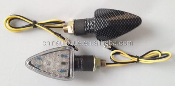 Universal Carbon Fiber Cover Clear Lens LED Motorcycle Turn Signals Light