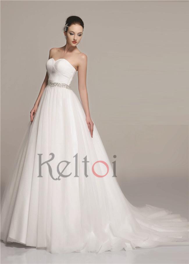 2015 Sweetheart Neckline Ball Gown Cheap Wedding Dress