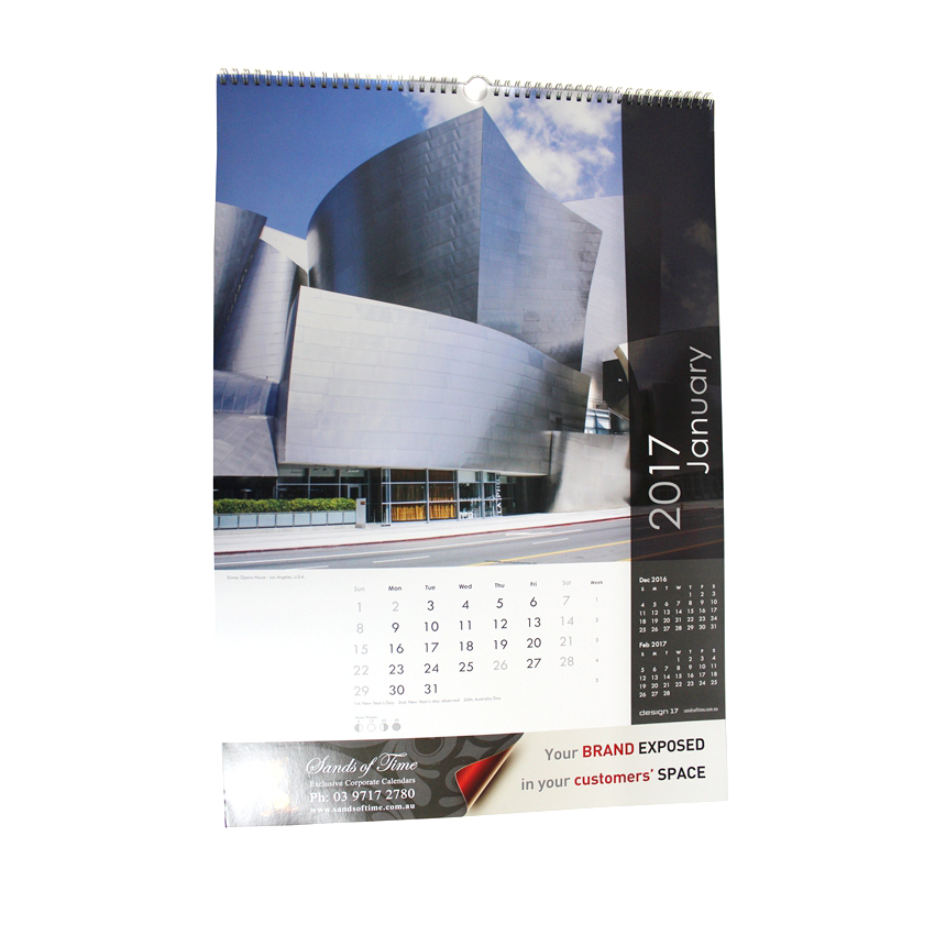 2017 promotional office wall calendar design
