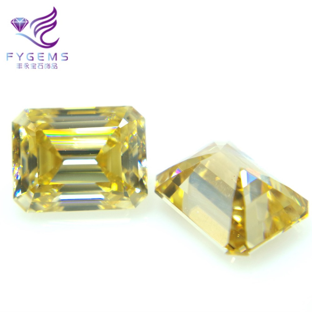 Light yellow with GIA certificate emerald <strong>cut</strong> 7*9 mm quality moissanite hot selling stone diamond