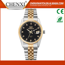 CHENXI Own Brand Watches Men 2017 Fashion Gold Japanese Movt Imitation Diamond Wrist Watch Man