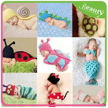 H0T022 2015 New Newborn Costume baby hat short pants set handmade Knit crochet photography props 2 pcs outfits