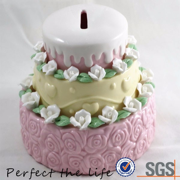 sweatheart colorful cake shaped porcelain money piggy bank