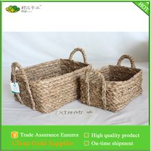 natural material rush braid woven rectangular storage basket