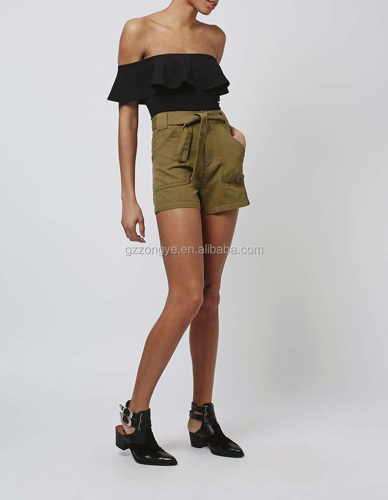 khaki color Hight quality ladies wholesale casual cargo shorts