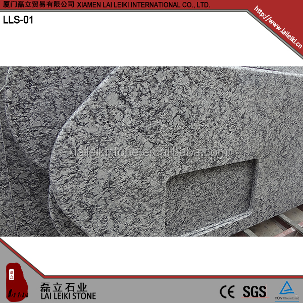 Various shape Spray White polished granite kitchen countertop