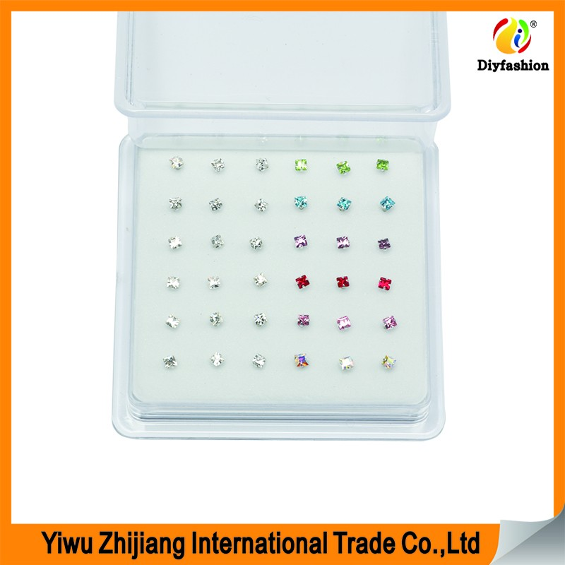 Hot Sale 925 Sterling Silver 36pcs/box Square Stone Nose Rings NSR1009
