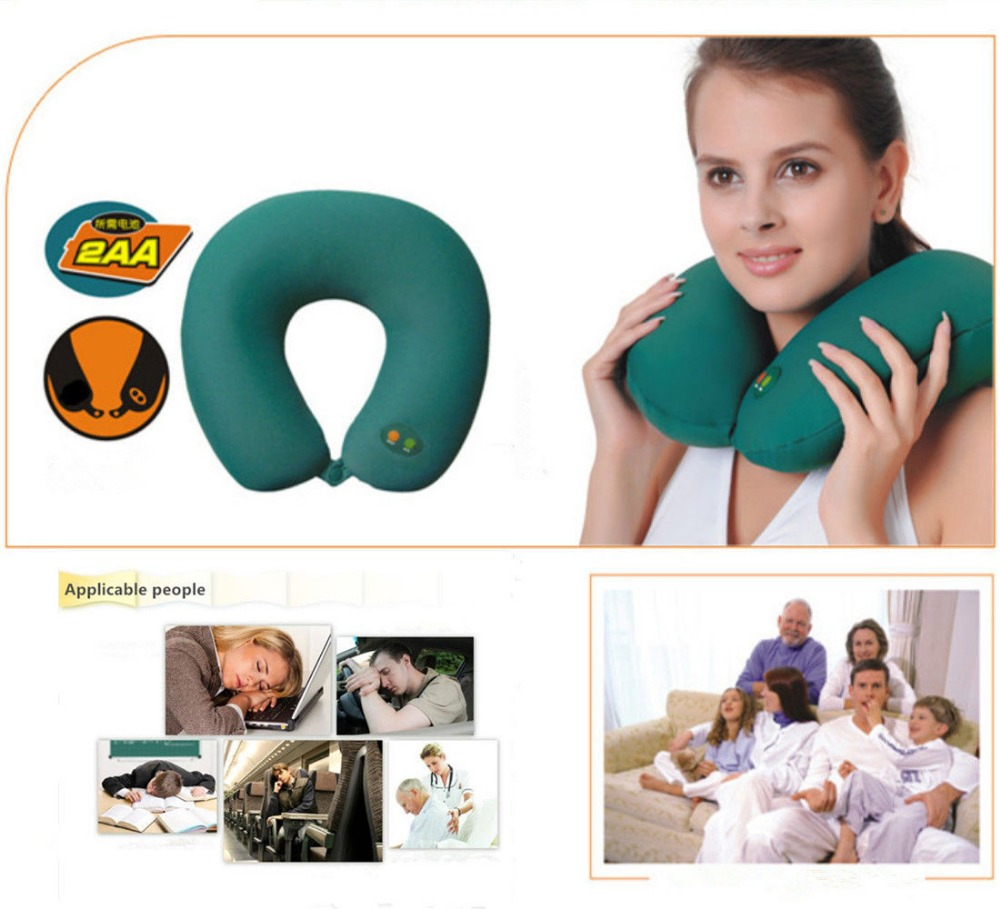 battery powered u shape massage travel pillow AS2106