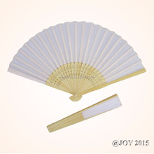 Foldable white solid color Fabric Hand Fan 21*37cm with 23pcs of bamboo ribs for wedding shop garden Chrsitmas decoration