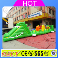 Newest design funny gator inflatable obstacle course for chanllenging