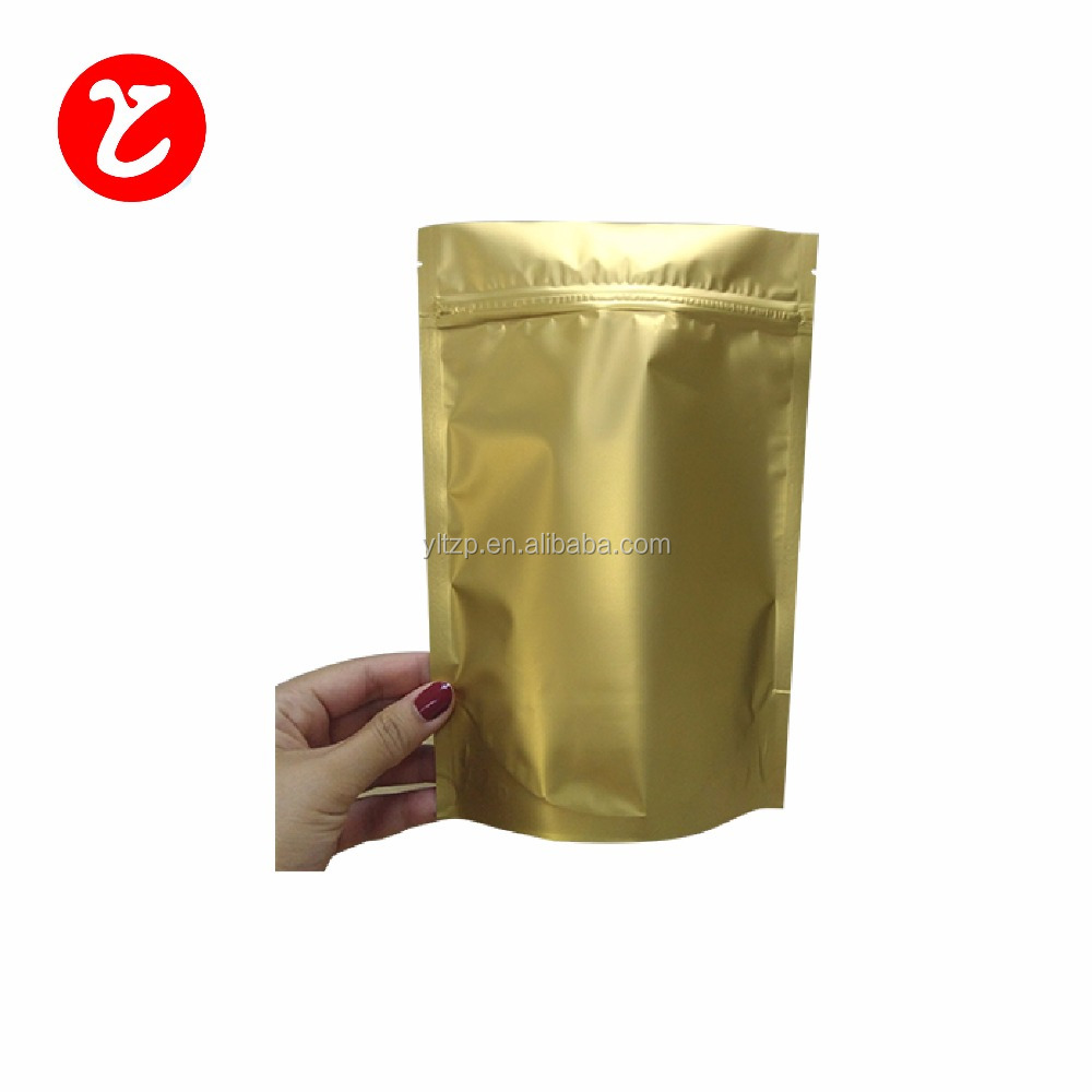 Laminated multiple layer plastic aluminum foil bag/gold foil stand up pouch for nuts