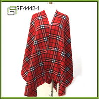 Hot Sale Elegant Plaid Pattern Fleece Pashmina Cape cape for girl