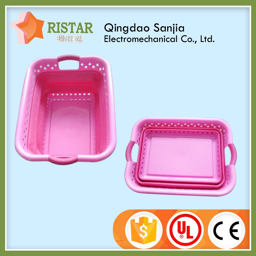 Storage Baskets Type and PP Plastic Material plastic wash tub flexible laundry folding basket