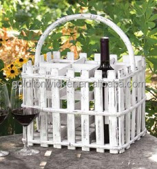 Wood wine holder basket with wood handle