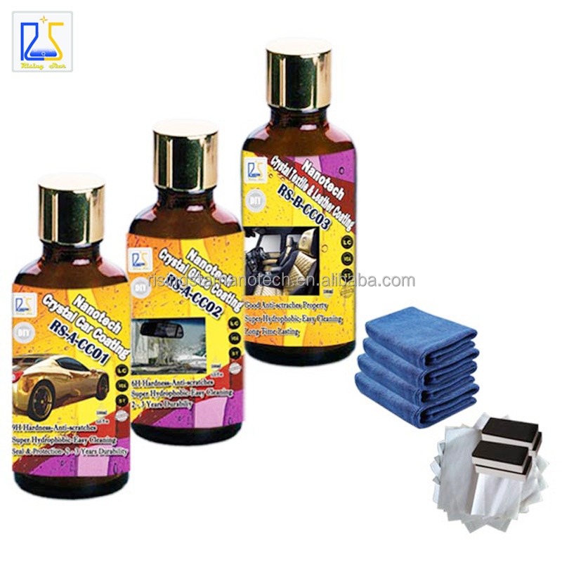 nano ceramic car coating paint care liquid car wax and nano glass coating plus hydrophobic textile and leather coating