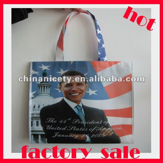 Obama pictures printing non woven shopping bag(NWL024)