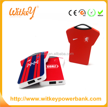 World Cup Thin Soccer Clothes Universal Power Bank Charger 2800mAh Battery Charger