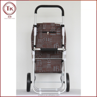 Portable aluminium alloy folding shopping cart from multiple perspectives chocolate color with chair