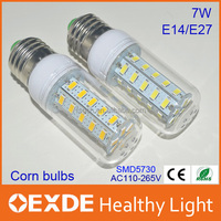 Hot sell 5w 7w Plastic led corn light bulb smd 5730 saving energy light E27 Warm white 7W led bulb lights