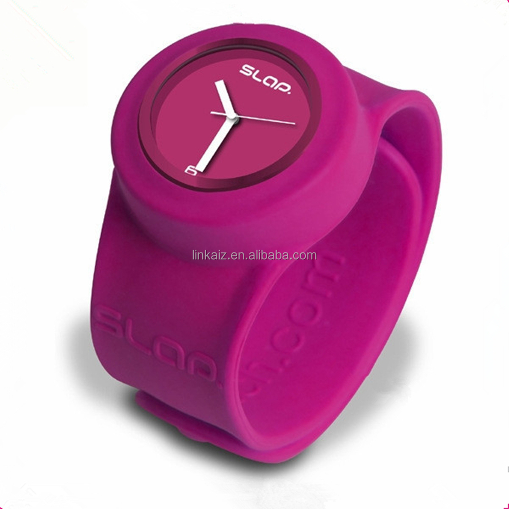High quality custom solid color silicon / rubber slap watch for promotion
