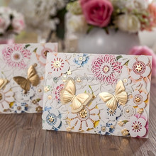 3D gold butterfly decorate wedding invitation card cw5069
