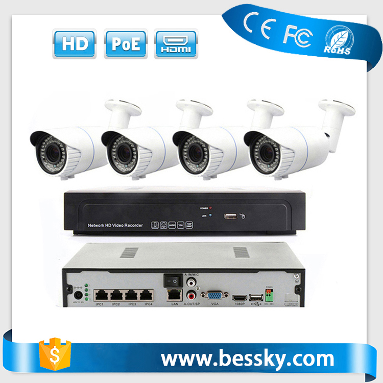 2mp 4-9mm Manual Zoom POE IP Camera NVR hd CCTV System