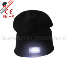 Custom winter warm beanie hunting hat with led lights