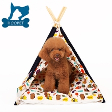 Wholesale Durable Cotton Canvas Pet Cat Sleep Teepee Tent Wooden Dog House