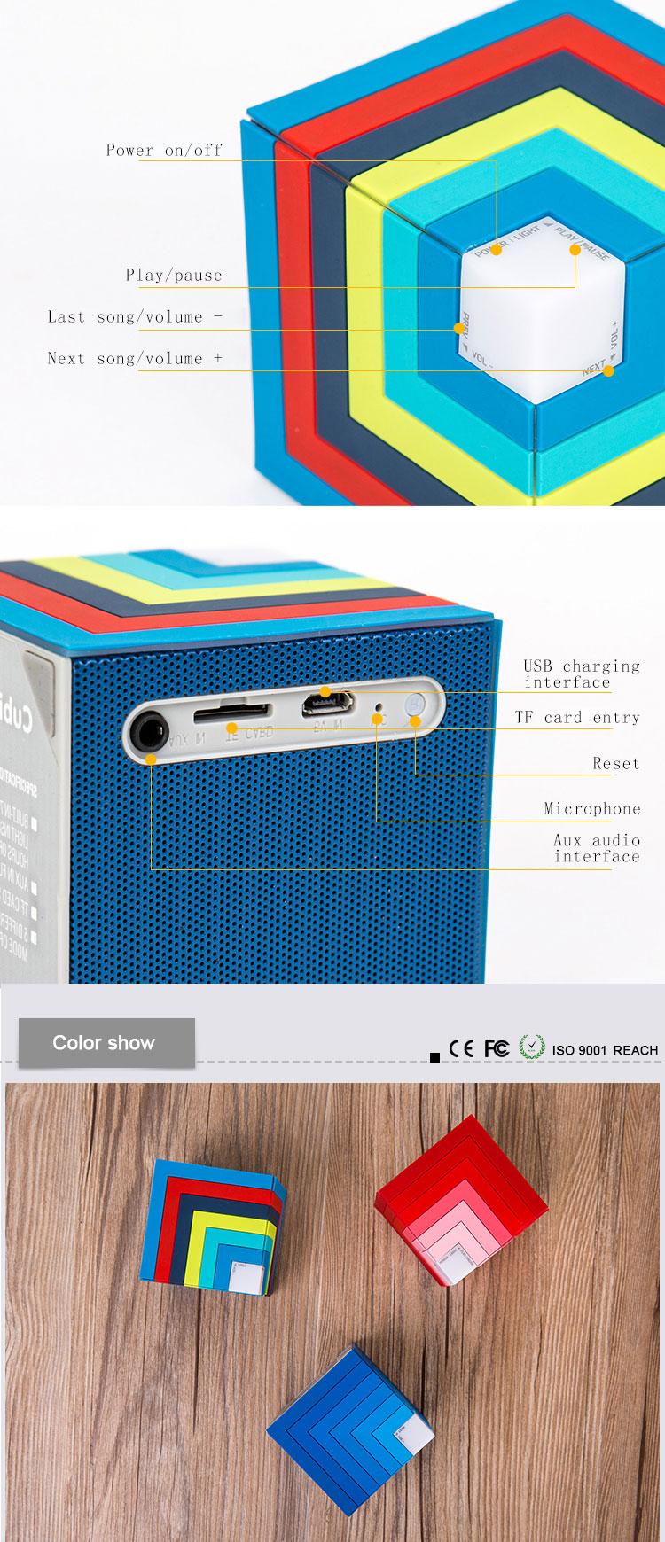 LED Portable Speaker Rainbow Wireless Bass Speaker With USB FM Radio GW