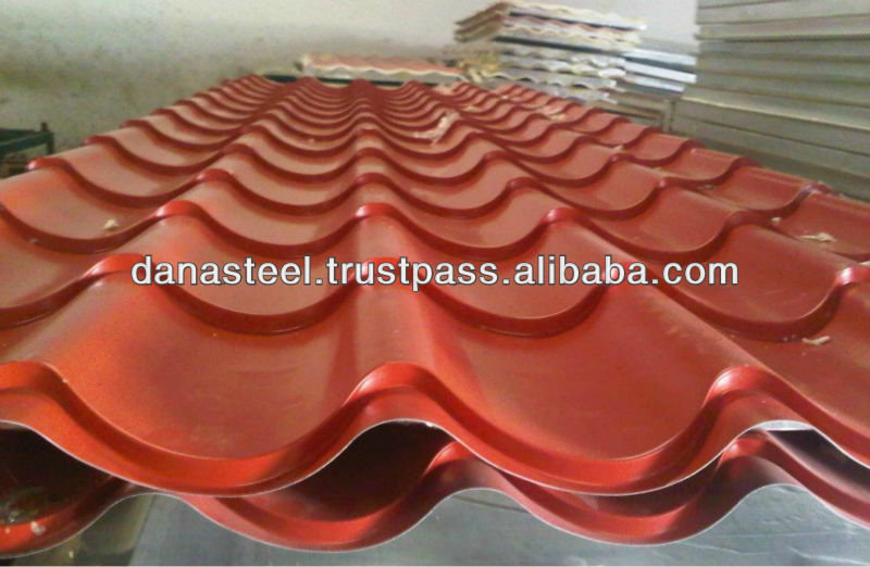 CORRUGATED GLAZED METAL ROOF SHEET OF STEEL/ALUMINUM IN ALL COLORS