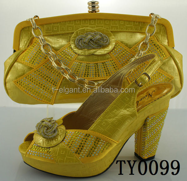 2015-2016 new fashion alian lady wholesale shoes and bag set yellow Shoes And Bag Matching