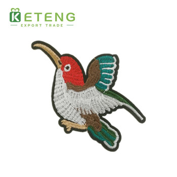 Manufactural sew on floral bird christmas embroidery patches for clothes