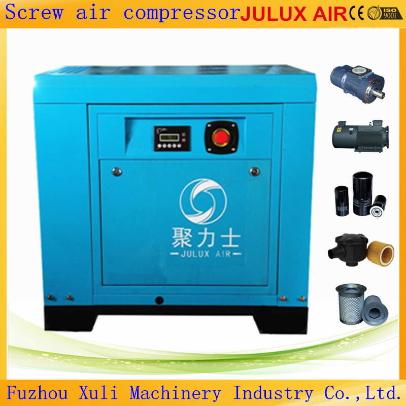 7.5kw 10hp 8 bar AC Power Electric Motor Oil Less Manufacturer Supply Rotary Screw Air Compressor
