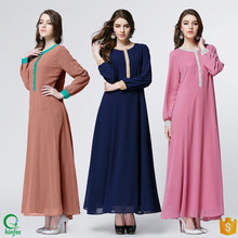 D390 Contrast Color Flowing Long Women Maxi Dresses Cheap Islamic Clothing