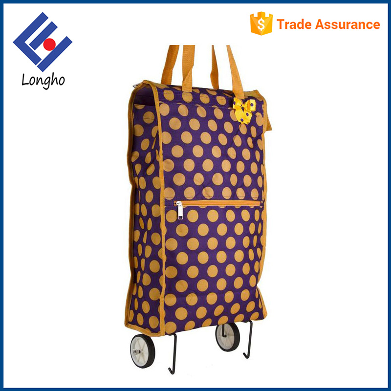 Smooth rolling tote shopping bag zipper closure folder shopping trolley bag with wheels