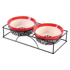 Two Round Dog Bowl Ceramic Water Food Pet Feeder With Metal Rack