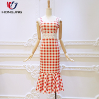 women wear check woven fabric vintage Fishtail High Waist shoulder straps square -neckline sleeveless sexy wedding prom Dress