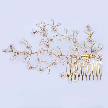 AP40007 Luxury crystal rhinestone flowers hair side combs bridal wedding hair comb clips for women