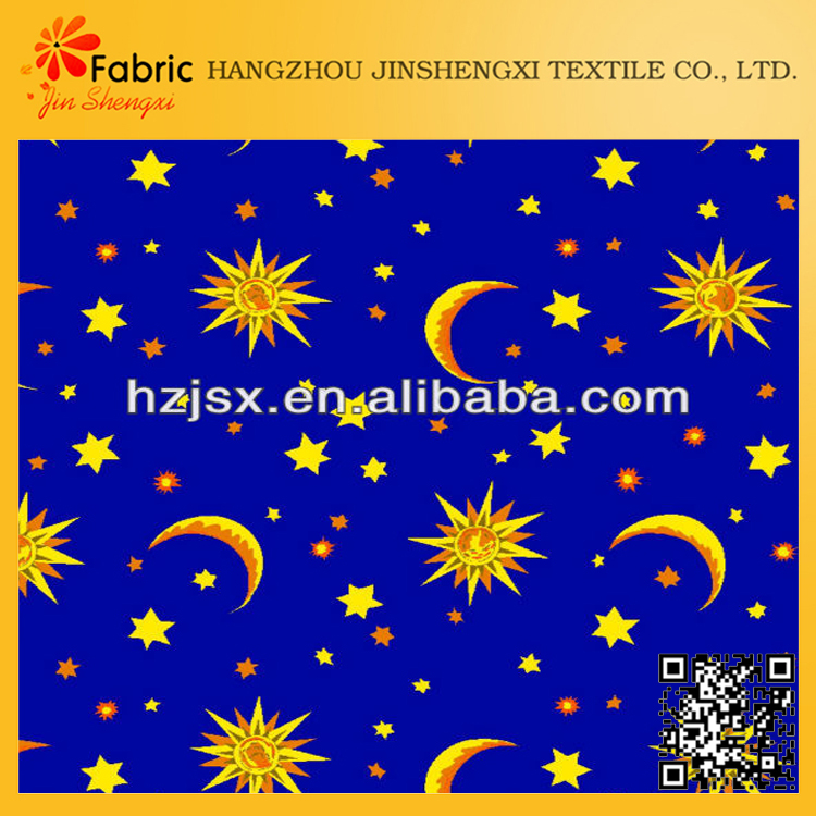 Anti-static bedding set yellow moon and star fabric