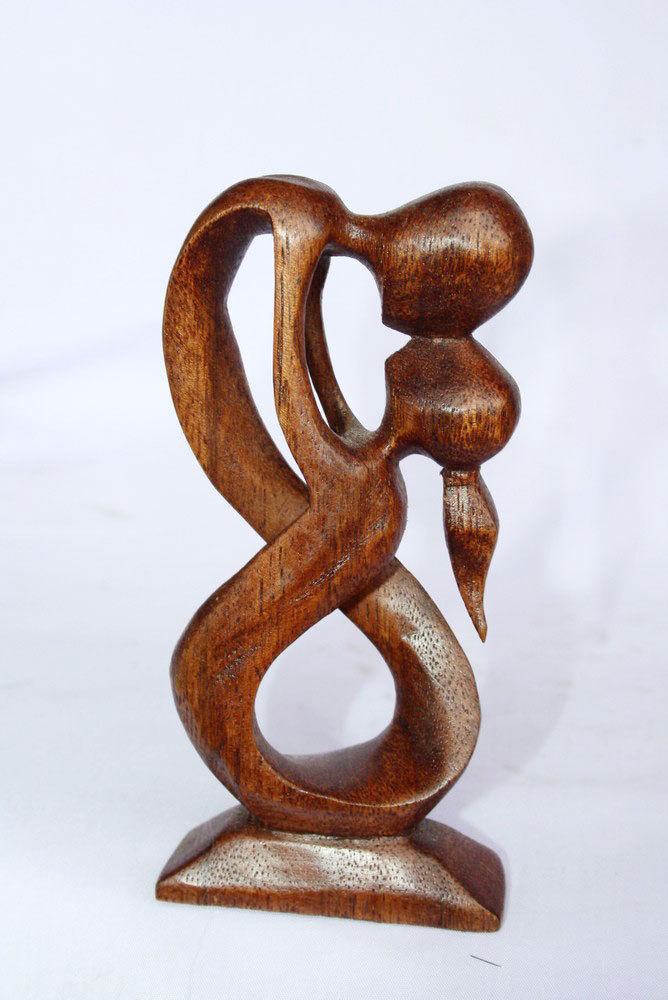 Wood Brown Abstract Sculpture Couple Kissing